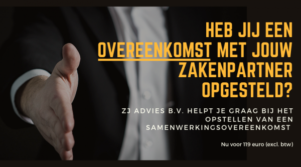 Samenwerkingsovereenkomst laten opstellen door ZJ Advies B.V.